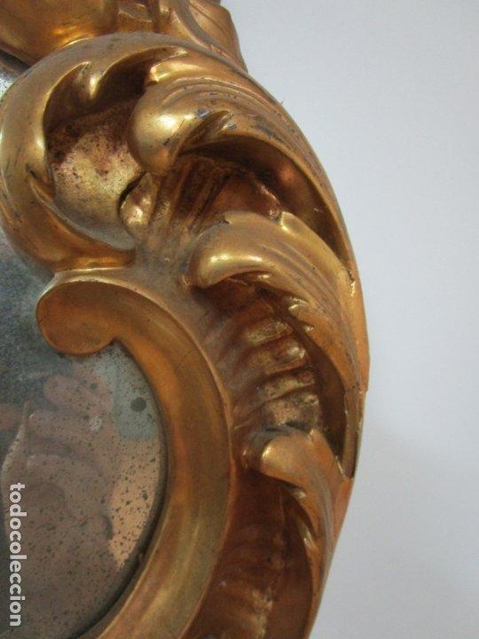 Antigüedades: Cornucopia Barroca - madera Tallada y Dorada en Pan de Oro - Espejo Plateado - S. XVIII - Foto 15 - 178329696