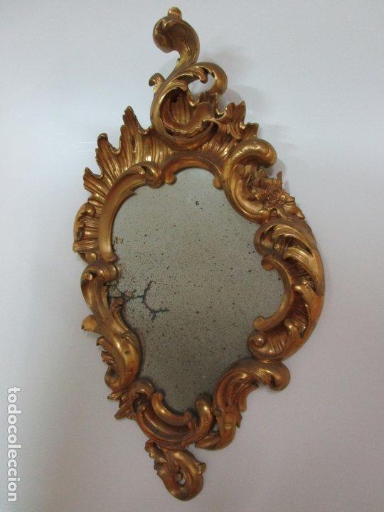 Antigüedades: Cornucopia Barroca - madera Tallada y Dorada en Pan de Oro - Espejo Plateado - S. XVIII - Foto 17 - 178329696