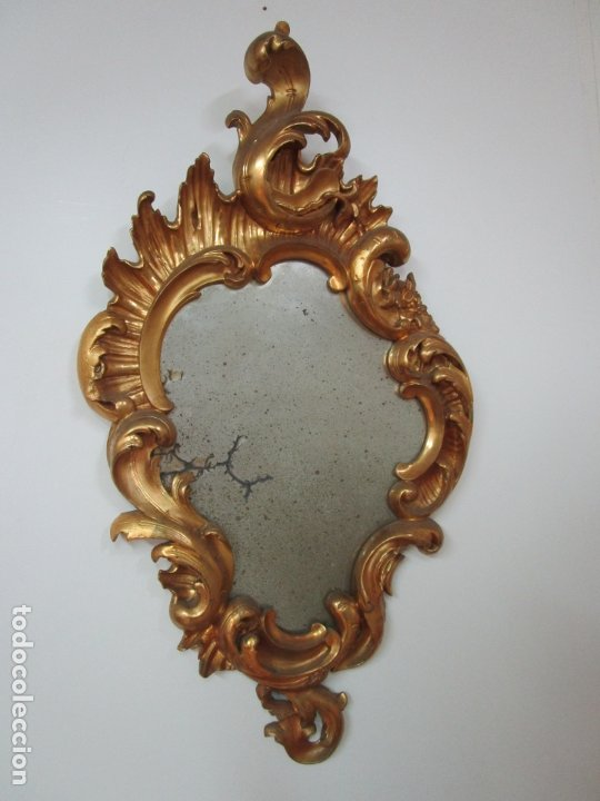 Antigüedades: Cornucopia Barroca - madera Tallada y Dorada en Pan de Oro - Espejo Plateado - S. XVIII - Foto 21 - 178329696