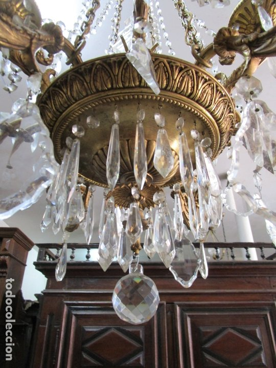 Antigüedades: Preciosa Lámpara de Techo - 12 Luces en 2 Niveles - Bronce Cincelado - Lagrimas de Cristal - S. XIX - Foto 3 - 178332288