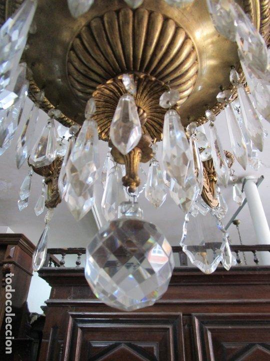 Antigüedades: Preciosa Lámpara de Techo - 12 Luces en 2 Niveles - Bronce Cincelado - Lagrimas de Cristal - S. XIX - Foto 4 - 178332288