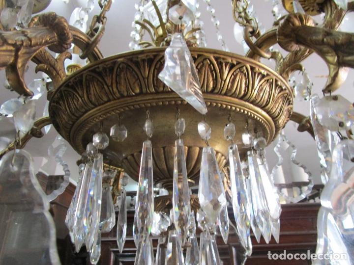 Antigüedades: Preciosa Lámpara de Techo - 12 Luces en 2 Niveles - Bronce Cincelado - Lagrimas de Cristal - S. XIX - Foto 6 - 178332288
