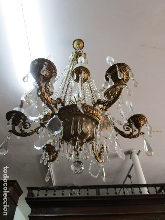 Antigüedades: Preciosa Lámpara de Techo - 12 Luces en 2 Niveles - Bronce Cincelado - Lagrimas de Cristal - S. XIX - Foto 8 - 178332288