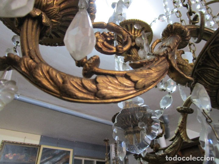 Antigüedades: Preciosa Lámpara de Techo - 12 Luces en 2 Niveles - Bronce Cincelado - Lagrimas de Cristal - S. XIX - Foto 10 - 178332288