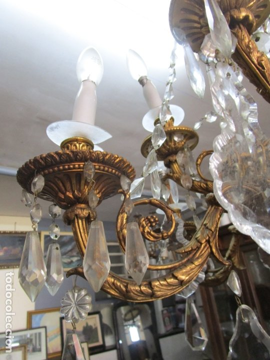 Antigüedades: Preciosa Lámpara de Techo - 12 Luces en 2 Niveles - Bronce Cincelado - Lagrimas de Cristal - S. XIX - Foto 11 - 178332288