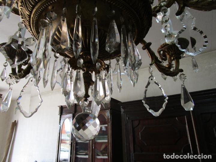 Antigüedades: Preciosa Lámpara de Techo - 12 Luces en 2 Niveles - Bronce Cincelado - Lagrimas de Cristal - S. XIX - Foto 15 - 178332288