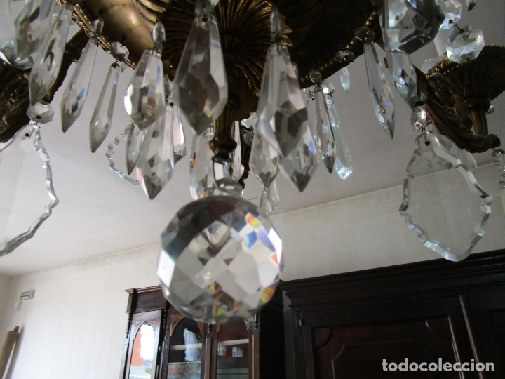 Antigüedades: Preciosa Lámpara de Techo - 12 Luces en 2 Niveles - Bronce Cincelado - Lagrimas de Cristal - S. XIX - Foto 16 - 178332288