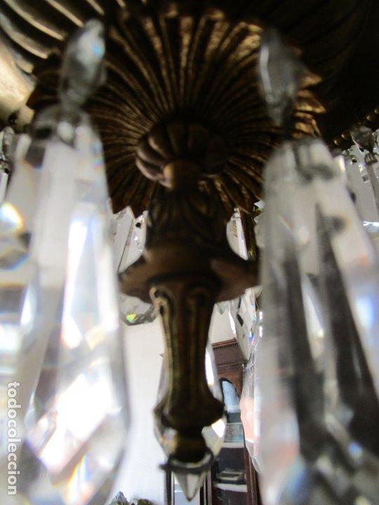 Antigüedades: Preciosa Lámpara de Techo - 12 Luces en 2 Niveles - Bronce Cincelado - Lagrimas de Cristal - S. XIX - Foto 17 - 178332288