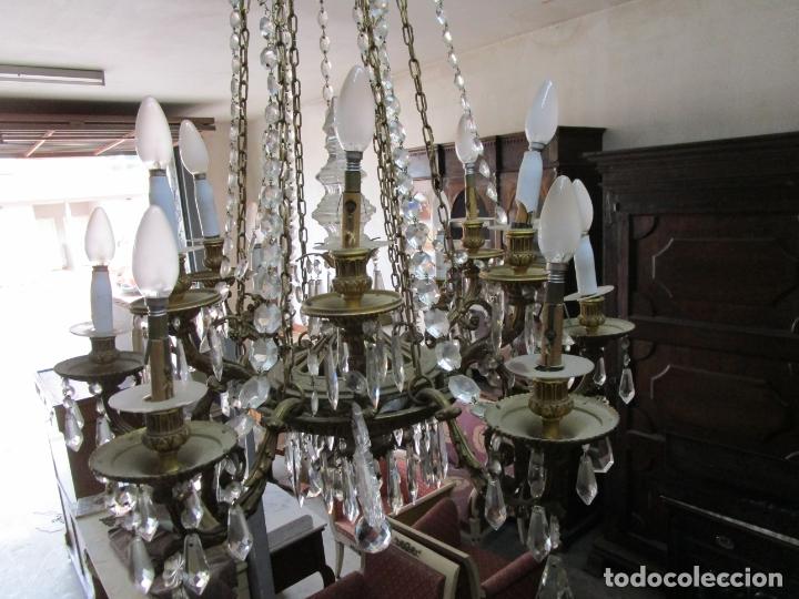 Antigüedades: Preciosa Lámpara de Techo - 12 Luces en 2 Niveles - Bronce Cincelado - Lagrimas de Cristal - S. XIX - Foto 18 - 178332288