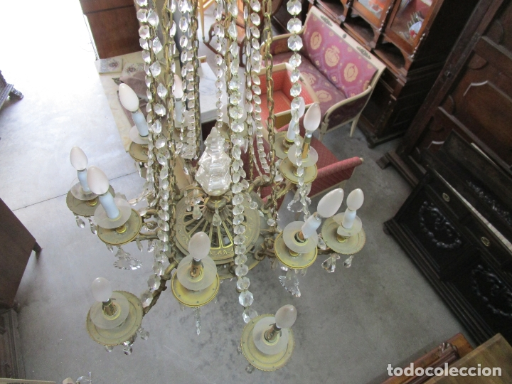 Antigüedades: Preciosa Lámpara de Techo - 12 Luces en 2 Niveles - Bronce Cincelado - Lagrimas de Cristal - S. XIX - Foto 29 - 178332288