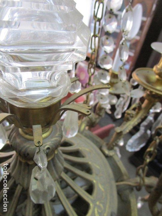 Antigüedades: Preciosa Lámpara de Techo - 12 Luces en 2 Niveles - Bronce Cincelado - Lagrimas de Cristal - S. XIX - Foto 30 - 178332288