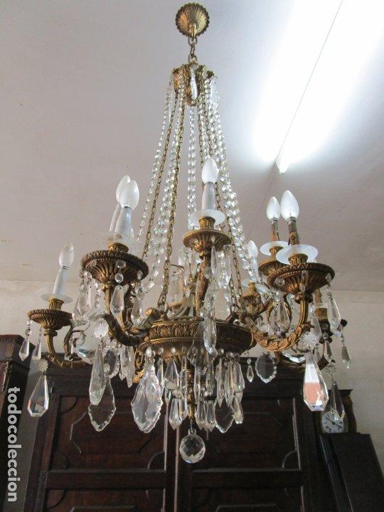 PRECIOSA LÁMPARA DE TECHO - 12 LUCES EN 2 NIVELES - BRONCE CINCELADO - LAGRIMAS DE CRISTAL - S. XIX (Antigüedades - Iluminación - Lámparas Antiguas)
