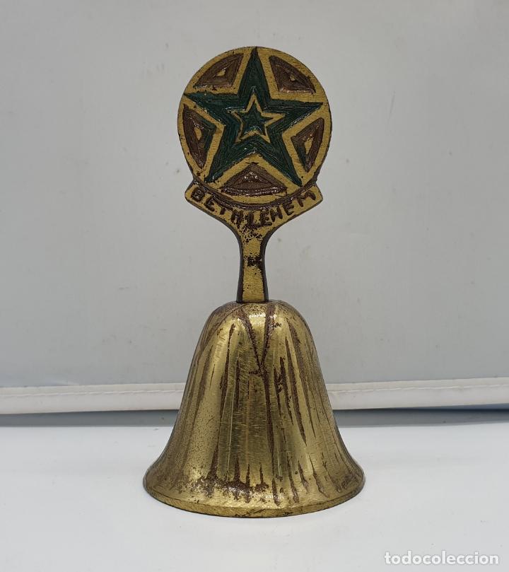 Antigüedades: Campana antigua en bronce cincelado a mano, hecha en bethlehem ( Palestina ). - Foto 3 - 178347912