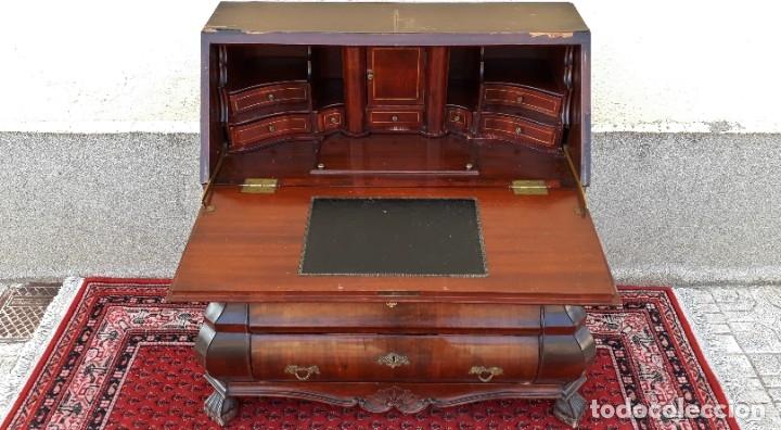 Antigüedades: Bureau antiguo estilo Chippendale. Escritorio secretaire antiguo estilo inglés Mueble buró cajonera. - Foto 2 - 178391765