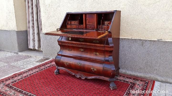 Antigüedades: Bureau antiguo estilo Chippendale. Escritorio secretaire antiguo estilo inglés Mueble buró cajonera. - Foto 3 - 178391765