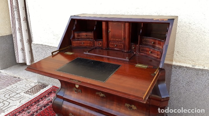 Antigüedades: Bureau antiguo estilo Chippendale. Escritorio secretaire antiguo estilo inglés Mueble buró cajonera. - Foto 4 - 178391765