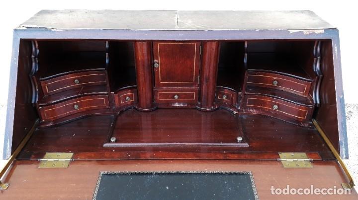 Antigüedades: Bureau antiguo estilo Chippendale. Escritorio secretaire antiguo estilo inglés Mueble buró cajonera. - Foto 5 - 178391765