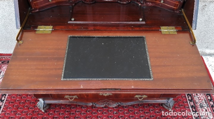Antigüedades: Bureau antiguo estilo Chippendale. Escritorio secretaire antiguo estilo inglés Mueble buró cajonera. - Foto 6 - 178391765