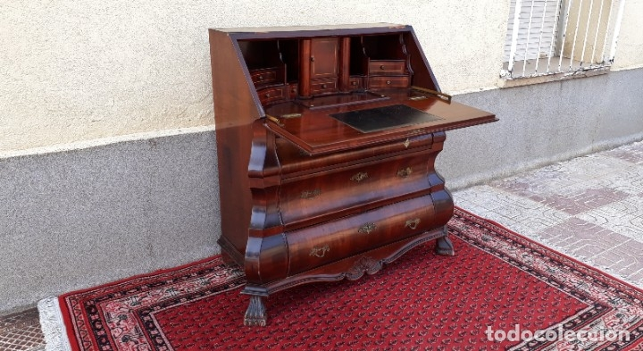 Antigüedades: Bureau antiguo estilo Chippendale. Escritorio secretaire antiguo estilo inglés Mueble buró cajonera. - Foto 7 - 178391765