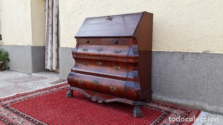 Antigüedades: Bureau antiguo estilo Chippendale. Escritorio secretaire antiguo estilo inglés Mueble buró cajonera. - Foto 14 - 178391765