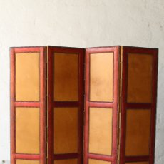 Antigüedades: BIOMBO DIVISOR SEPARADOR 3 PANELES PLEGABLE MADERA SKAY RETRO. Lote 178398105