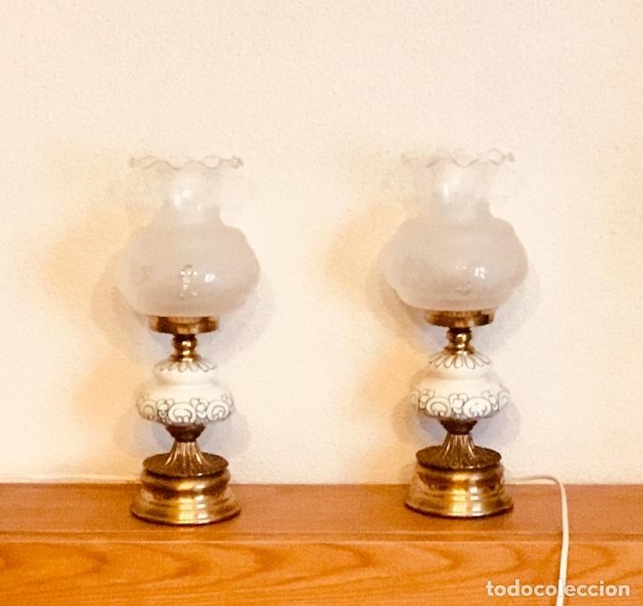 Antigüedades: Pareja de lampas tipo quinque - Foto 10 - 178404390