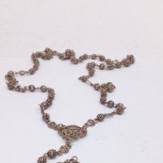 Antigüedades: ROSARIO DE PLATA BOLAS DE FILIGRANA ANTIGUO. Lote 178448383