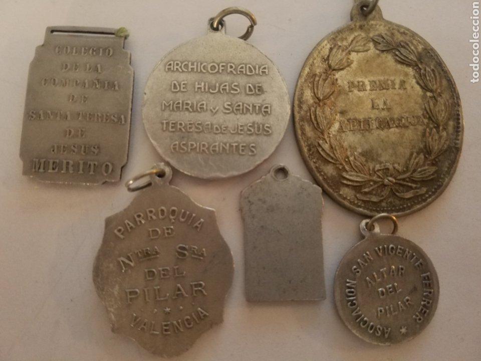 Antigüedades: Lote de 6 medallas religiosas. - Foto 5 - 178457355