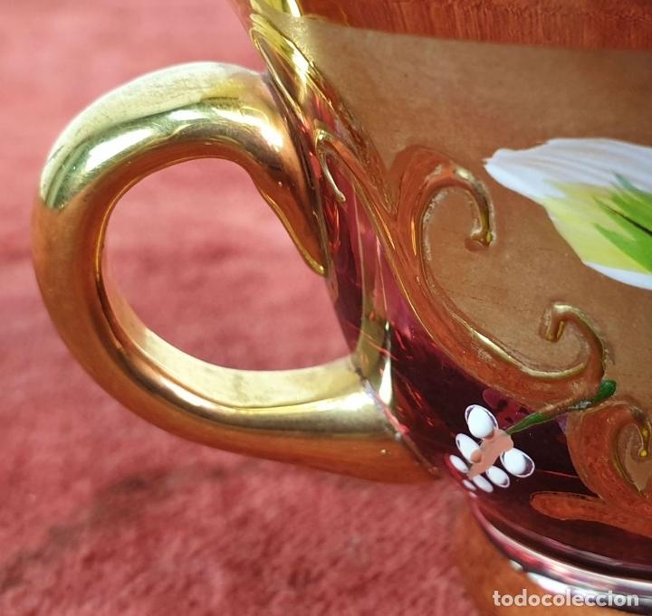 Antigüedades: JUEGO DE CAFÉ. CRISTAL DE BOHEMIA. DETALLES EN DORADO. PINTADO A MANO. SIGLO XX. - Foto 24 - 178556790