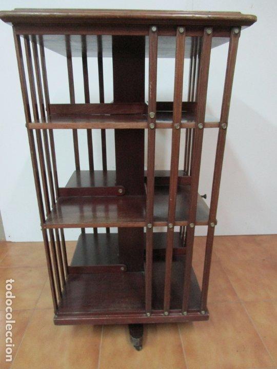 Antigüedades: Mueble Giratorio de Biblioteca - Librería Victoriana - Madera de Caoba - con Ruedas - Ideal Libros - Foto 5 - 178596497