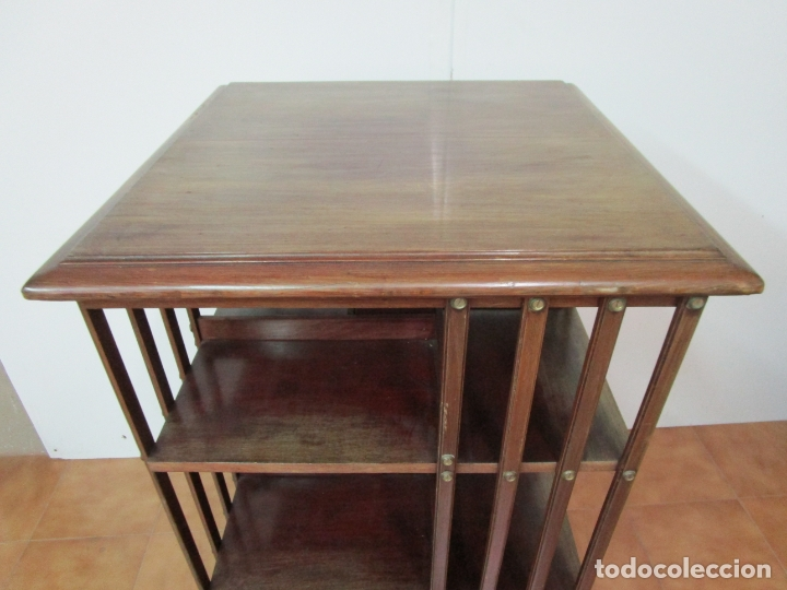 Antigüedades: Mueble Giratorio de Biblioteca - Librería Victoriana - Madera de Caoba - con Ruedas - Ideal Libros - Foto 9 - 178596497
