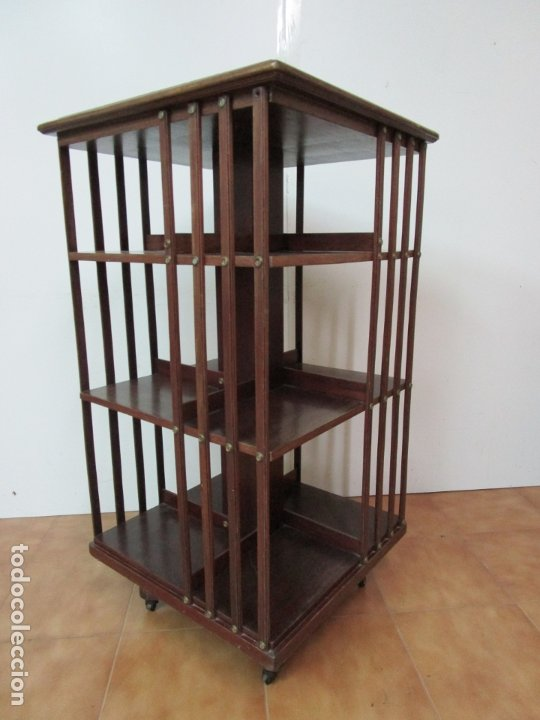 Antigüedades: Mueble Giratorio de Biblioteca - Librería Victoriana - Madera de Caoba - con Ruedas - Ideal Libros - Foto 11 - 178596497