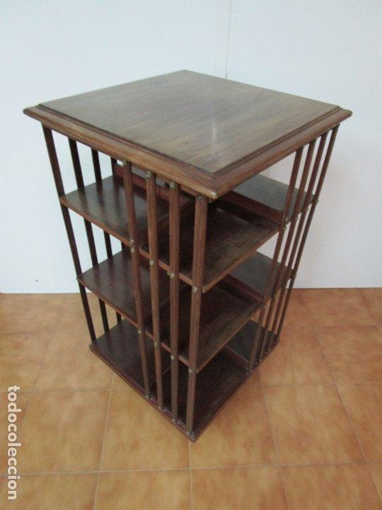 Antigüedades: Mueble Giratorio de Biblioteca - Librería Victoriana - Madera de Caoba - con Ruedas - Ideal Libros - Foto 12 - 178596497