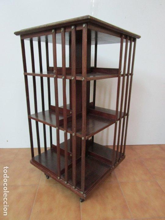 Antigüedades: Mueble Giratorio de Biblioteca - Librería Victoriana - Madera de Caoba - con Ruedas - Ideal Libros - Foto 14 - 178596497