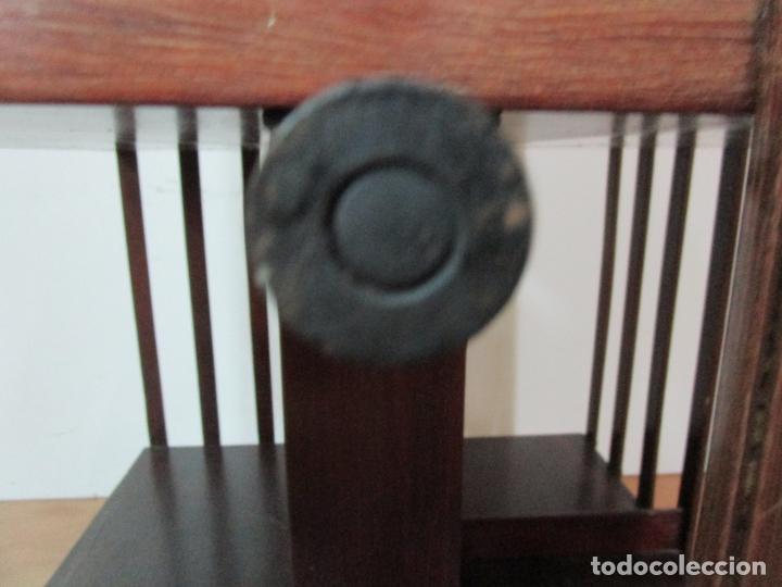 Antigüedades: Mueble Giratorio de Biblioteca - Librería Victoriana - Madera de Caoba - con Ruedas - Ideal Libros - Foto 17 - 178596497