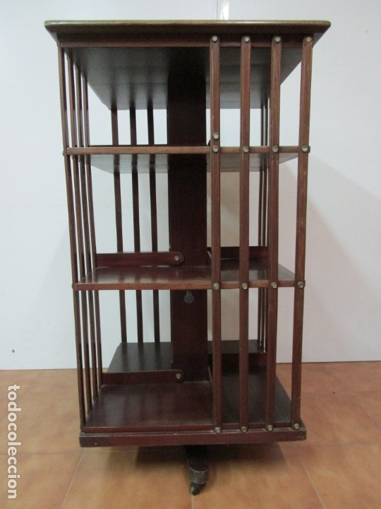 Antigüedades: Mueble Giratorio de Biblioteca - Librería Victoriana - Madera de Caoba - con Ruedas - Ideal Libros - Foto 18 - 178596497