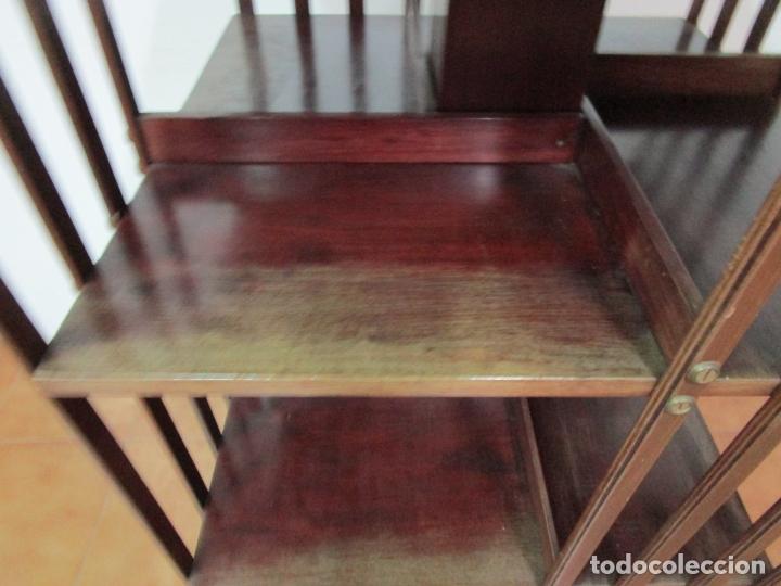 Antigüedades: Mueble Giratorio de Biblioteca - Librería Victoriana - Madera de Caoba - con Ruedas - Ideal Libros - Foto 20 - 178596497