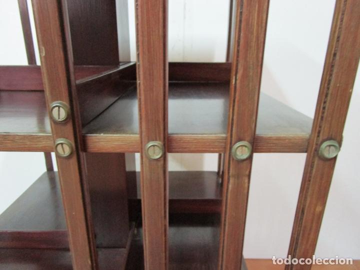 Antigüedades: Mueble Giratorio de Biblioteca - Librería Victoriana - Madera de Caoba - con Ruedas - Ideal Libros - Foto 21 - 178596497