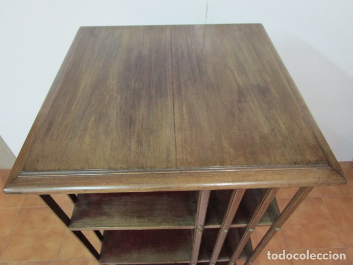 Antigüedades: Mueble Giratorio de Biblioteca - Librería Victoriana - Madera de Caoba - con Ruedas - Ideal Libros - Foto 22 - 178596497