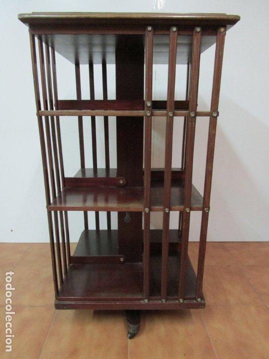 Antigüedades: Mueble Giratorio de Biblioteca - Librería Victoriana - Madera de Caoba - con Ruedas - Ideal Libros - Foto 23 - 178596497