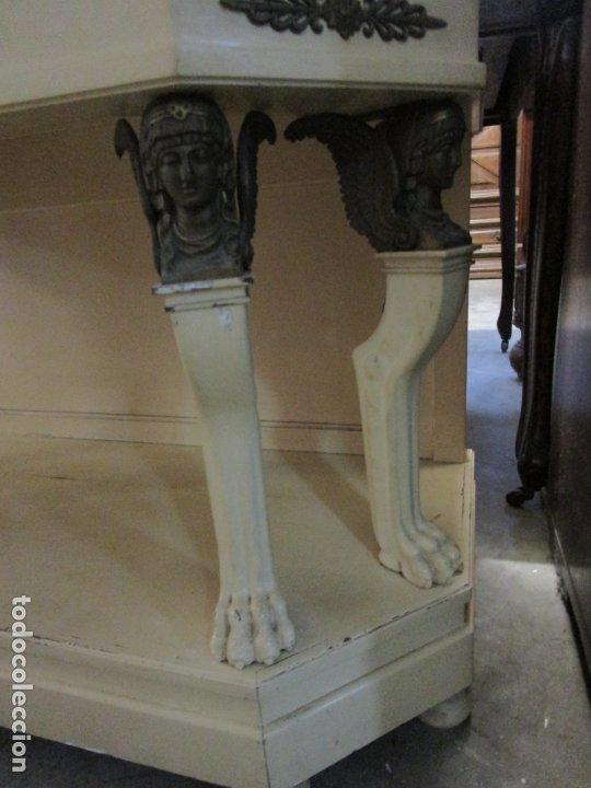 Antigüedades: Vitrina Estilo Imperio - Madera de Caoba - Laca Blanca - Bronce - 175 cm Altura - Foto 5 - 178605267