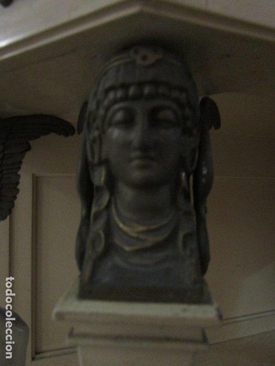 Antigüedades: Vitrina Estilo Imperio - Madera de Caoba - Laca Blanca - Bronce - 175 cm Altura - Foto 11 - 178605267