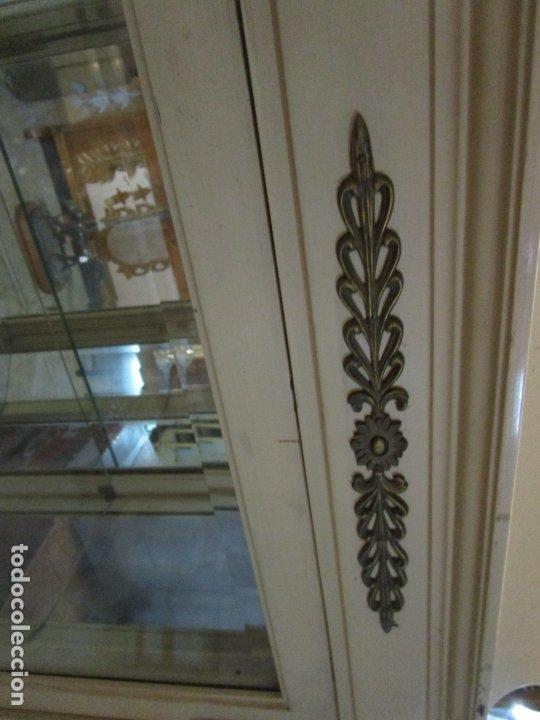 Antigüedades: Vitrina Estilo Imperio - Madera de Caoba - Laca Blanca - Bronce - 175 cm Altura - Foto 30 - 178605267