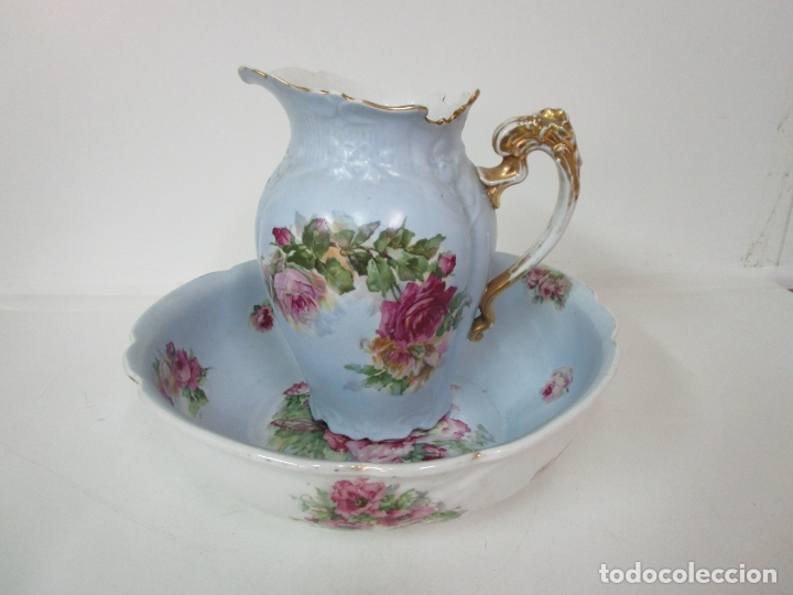 Antigüedades: Precioso Aguamanil Modernista - Palangana y Jarra - Porcelana Esmaltada - Foto 2 - 178609373
