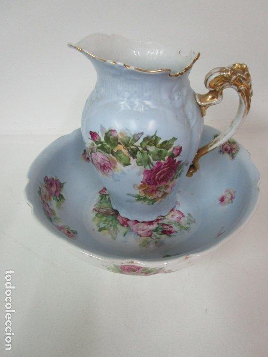 Antigüedades: Precioso Aguamanil Modernista - Palangana y Jarra - Porcelana Esmaltada - Foto 3 - 178609373