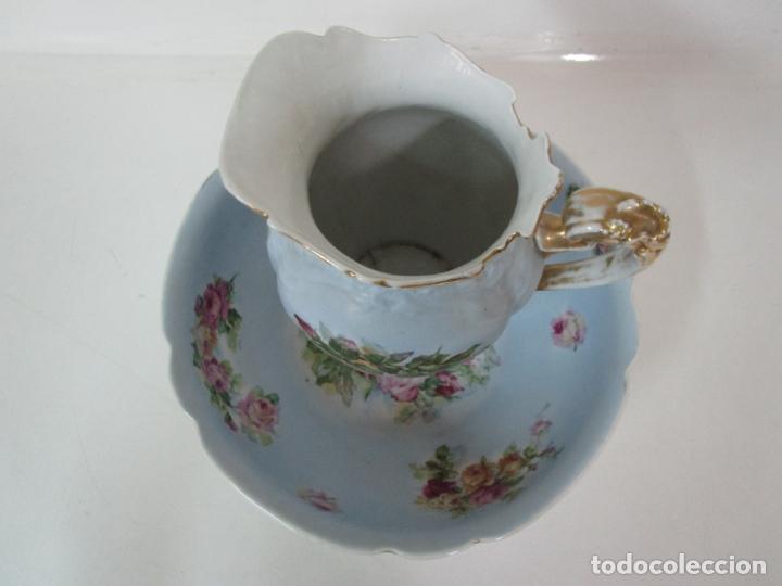 Antigüedades: Precioso Aguamanil Modernista - Palangana y Jarra - Porcelana Esmaltada - Foto 4 - 178609373