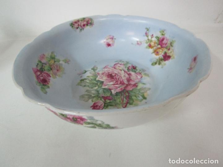 Antigüedades: Precioso Aguamanil Modernista - Palangana y Jarra - Porcelana Esmaltada - Foto 7 - 178609373