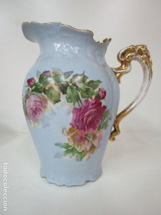 Antigüedades: Precioso Aguamanil Modernista - Palangana y Jarra - Porcelana Esmaltada - Foto 15 - 178609373