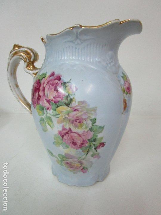 Antigüedades: Precioso Aguamanil Modernista - Palangana y Jarra - Porcelana Esmaltada - Foto 24 - 178609373