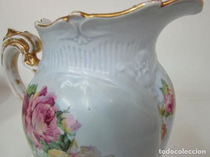 Antigüedades: Precioso Aguamanil Modernista - Palangana y Jarra - Porcelana Esmaltada - Foto 26 - 178609373